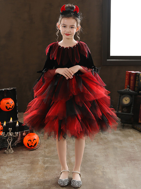 Red Black Tulle Short Sleeve Knee Length Vintage Halloween Dress