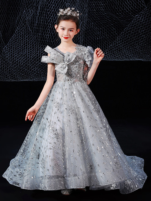 In Stock:Ship in 48 Hours Silver Gray Sequins Flower Girl Dress