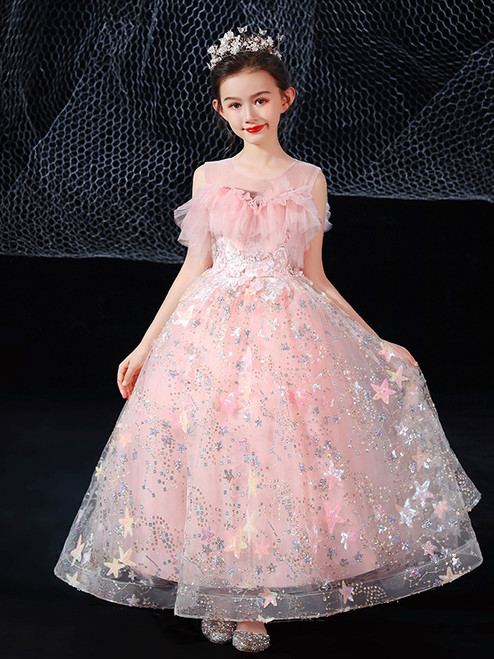 In Stock:Ship in 48 Hours Pink Tulle Sequins Flower Girl Dress