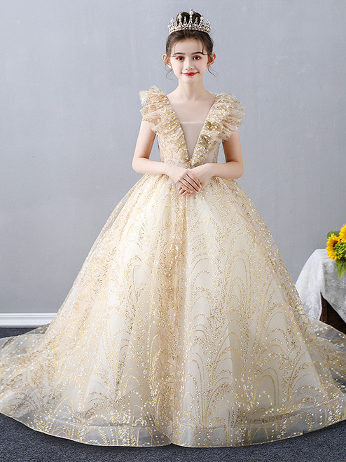 In Stock:Ship in 48 Hours Gold Tulle Sequins Flower Girl Dress