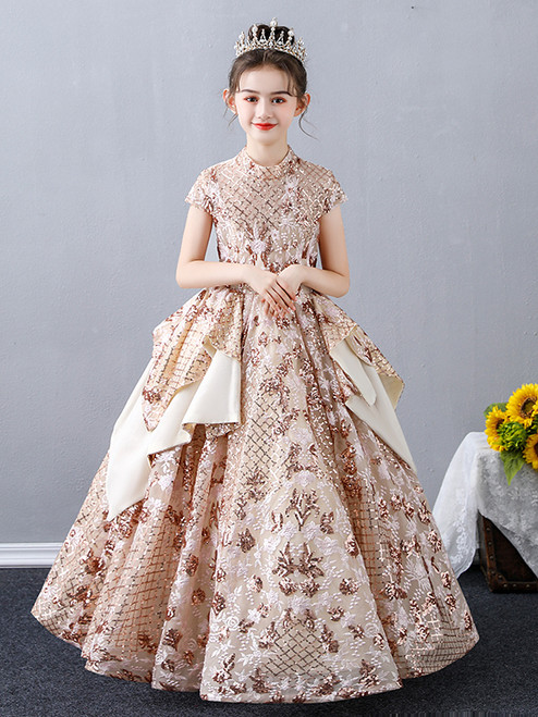 In Stock:Ship in 48 Hours Gold Sequins Cap Sleeve Flower Girl Dress