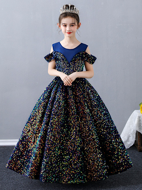In Stock:Ship in 48 Hours Blue Sequins Flower Girl Dress