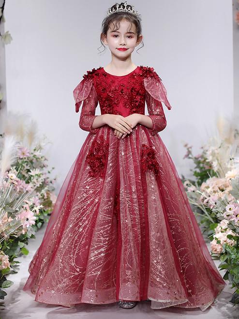 In Stock:Ship in 48 Hours Burgundy Sequins Long Sleeve Flower Girl Dress