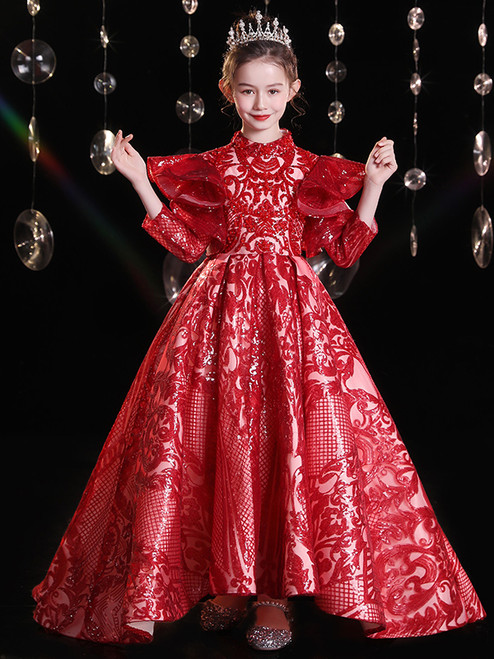 In Stock:Ship in 48 Hours Burgundy Sequins High Neck Flower Girl Dress