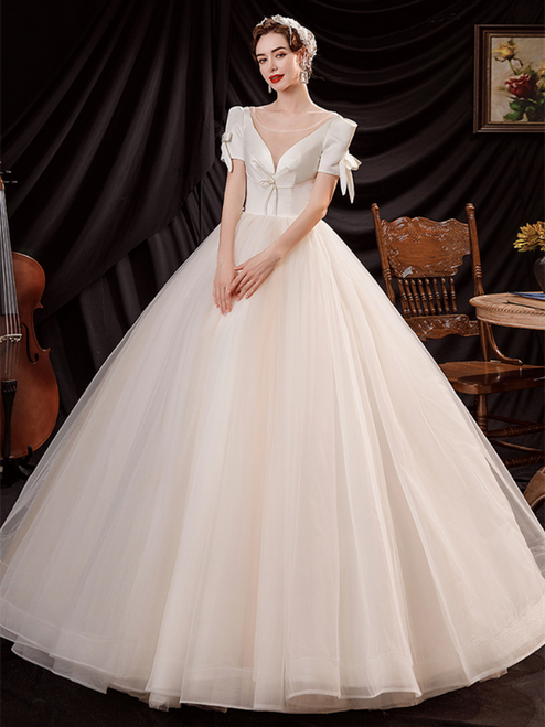 In Stock:Ship in 48 Hours Champagne Tulle Short Sleeve Wedding Dress