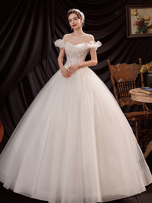 In Stock:Ship in 48 Hours White Tulle Appliques Beading Wedding Dress