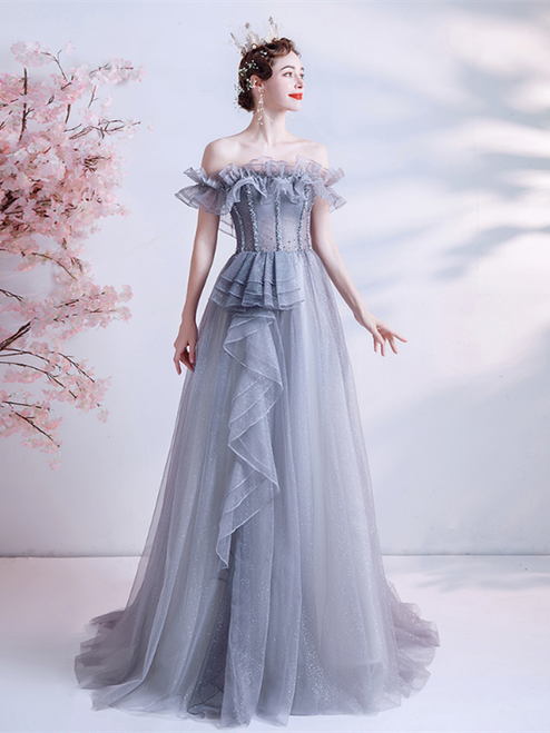 In Stock:Ship in 48 Hours Gray Tulle Off the Shoulder Beading Prom Dress