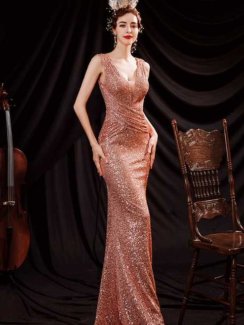 In Stock:Ship in 48 Hours Sexy Gold Mermaid Sequins V-neck Pleats Prom Dress
