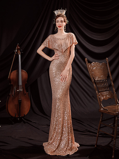 In Stock:Ship in 48 Hours Sexy Gold Mermaid Sequins Prom Dress