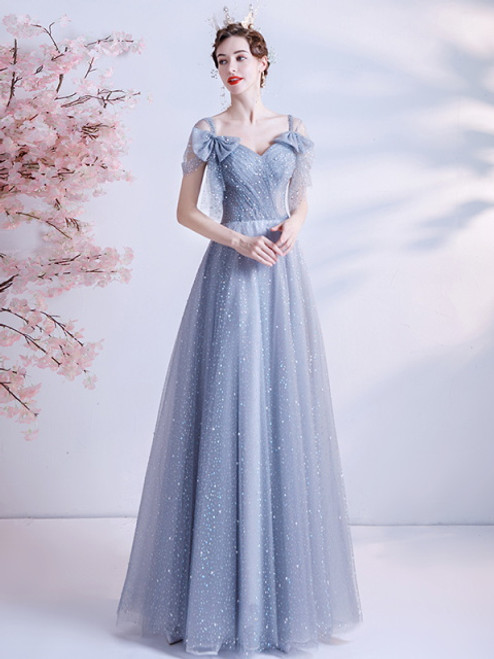 In Stock:Ship in 48 Hours Sequins Pleats Blue Tulle Prom Dress