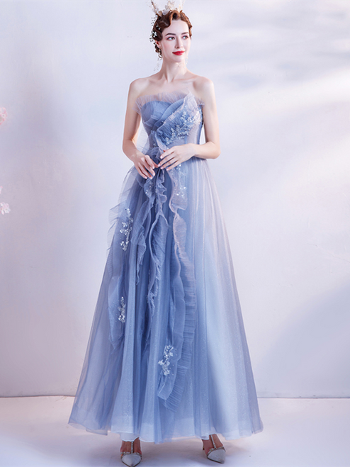 In Stock:Ship in 48 Hours Blue Tulle Strapless Prom Dress