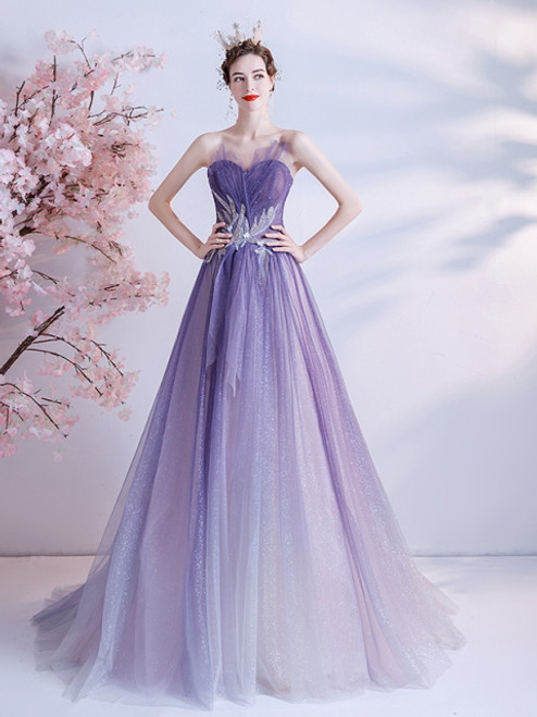 In Stock:Ship in 48 hours Purple Tulle Strapless Beading Prom Dress