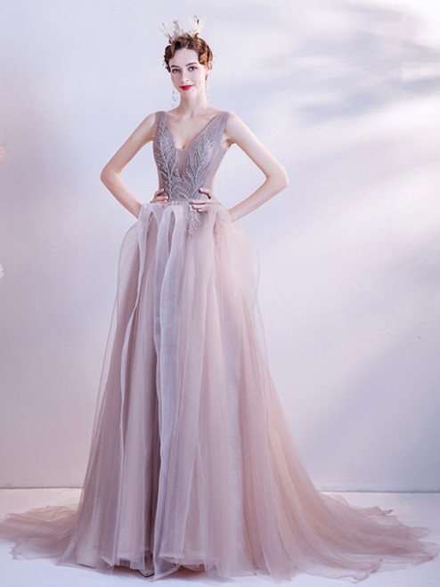 In Stock:Ship in 48 hours Pink Tulle V-neck Beading Prom Dress