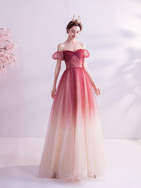 In Stock:Ship in 48 hours Burgundy Tulle Beading Prom Dress