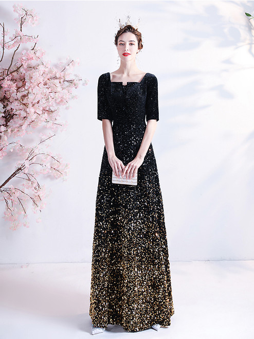 In Stock:Ship in 48 hours Black Sequins Short Sleeve Square Prom Dress