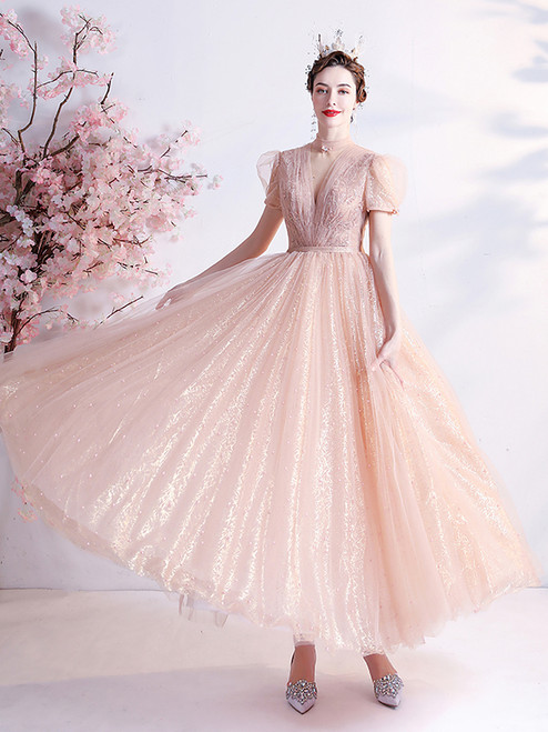 In Stock:Ship in 48 hours Orange Pink Tulle Sequins Prom Dress