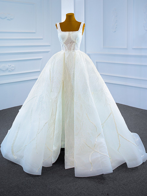 White Ball Gown Sequins Straps Beading Wedding Dress