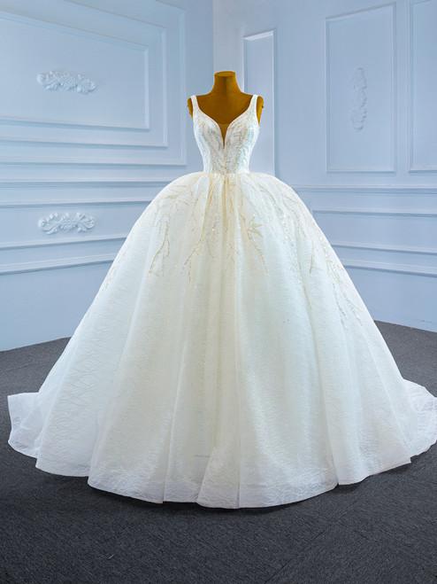 White Tulle Sequins Beading V-neck Wedding Dress