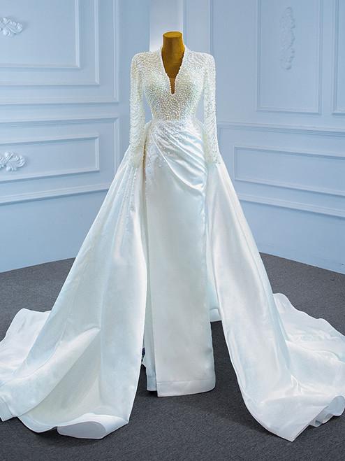 White Mermaid Satin Pearls Long Sleeve Wedding Dress