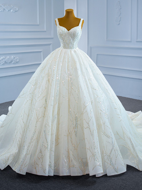 White Ball Gown Tulle Sequins Straps Wedding Dress