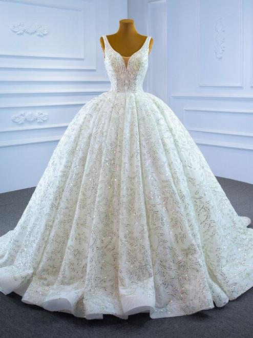 White Tulle Sequins V-neck Luxury Wedding Dress
