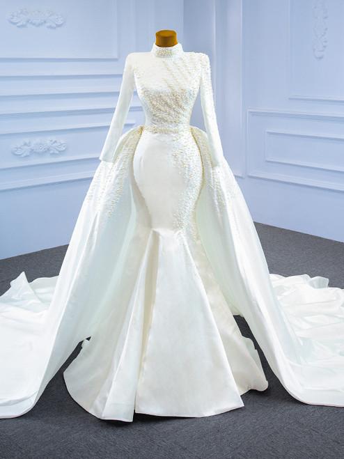 White Mermaid Satin Long Sleeve Wedding Dress With Detachable Train