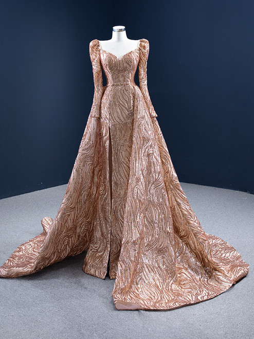 Sexy Gold Sequins Long Sleeve Prom Dress With Split