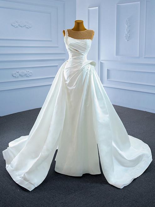 Unique White Satin Pleats Pearls Wedding Dress