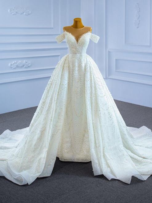 Handwork Pearls Sequins Luxury White Wedding Dress