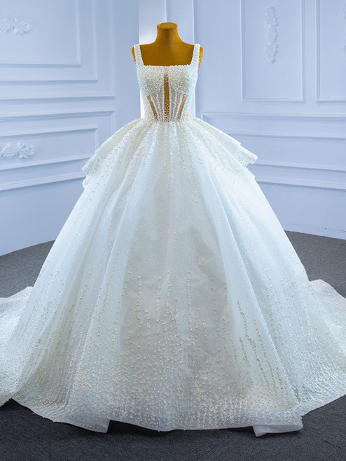 Sexy White Ball Gown Tulle Pearls Straps Wedding Dress