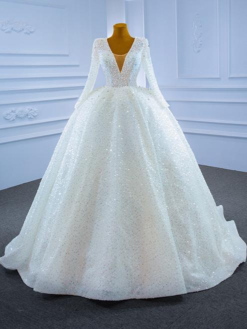 White Sequins V-neck Long Sleeve Pearls Wedding Dress