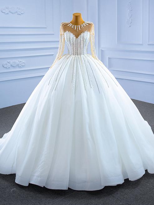 White Tulle Long Sleeve Sequins Beading Wedding Dress