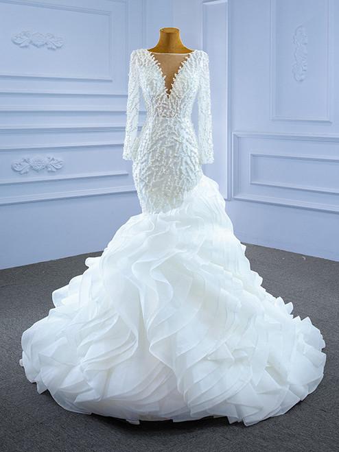 White Mermaid Long Sleeve Tulle Pearls Wedding Dress