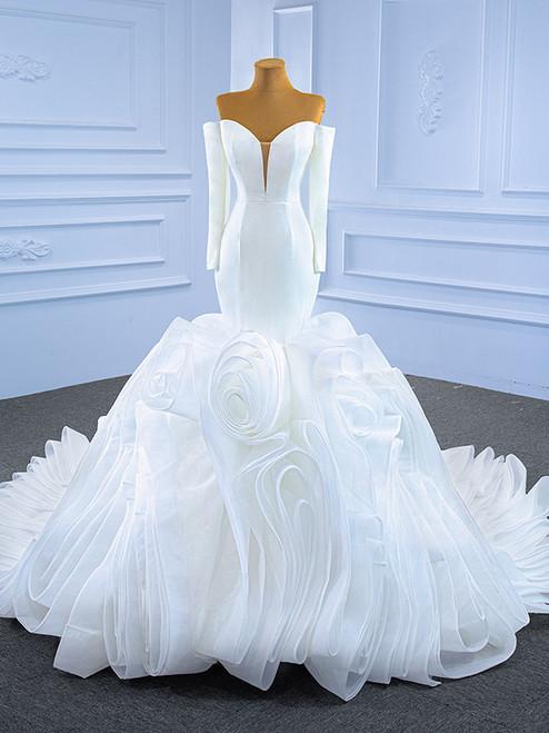 White Mermaid Satin Tulle Long Sleeve Wedding Dress