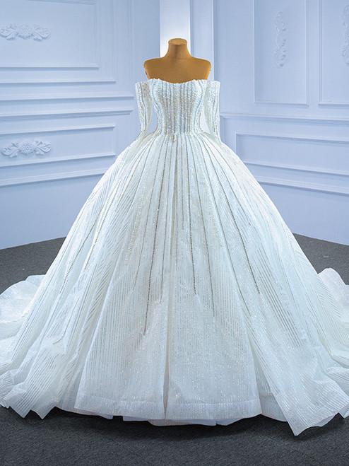 Luxury Tulle Sequins Pearls Long Sleeve Wedding Dress
