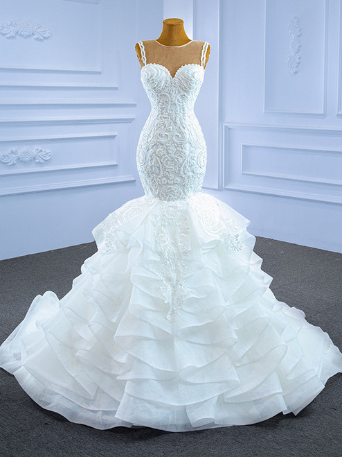 White Mermaid Tulle Appliques Wedding Dress