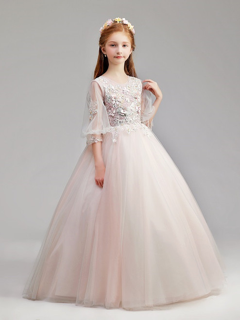 In Stock:Ship in 48 Hours Pink Tulle Long Sleeve Flower Girl Dress