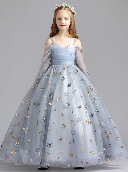 In Stock:Ship in 48 Hour Gray Tulle Star Sequins Flower Girl Dress