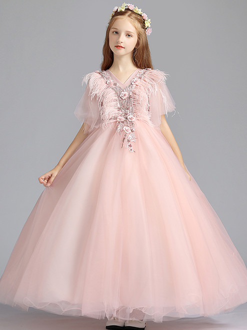 In Stock:Ship in 48 Hours Pink Ball Gown Tulle Flower Girl Dress