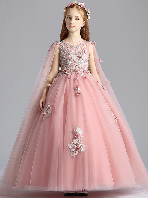 In Stock:Ship in 48 Hours Pink Scoop 3D Appliques Flower Girl Dress