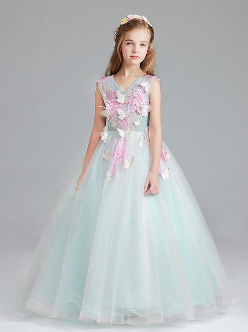 In Stock:Ship in 48 Hours Pink Blue Butterfly Flower Girl Dress