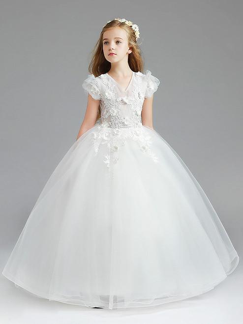 In Stock:Ship in 48 Hours White Tulle V-neck Flower Girl Dress