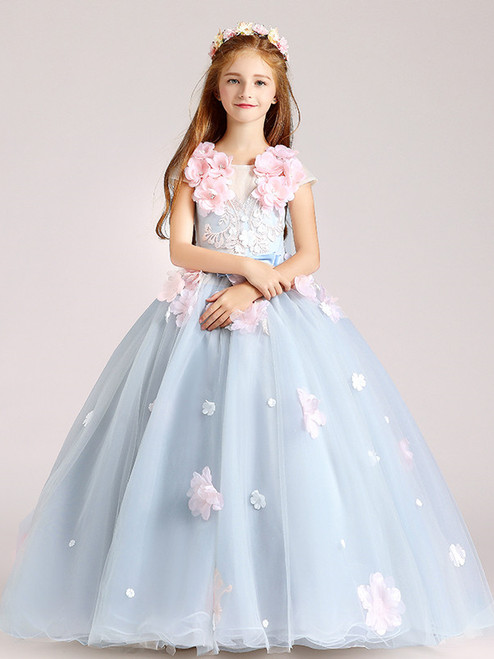 In Stock:Ship in 48 Hours Blue Tulle Appliques Girls Dress