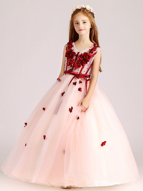 In Stock:Ship in 48 Hours Pink Tulle Red Appliques Flower Girl Dress
