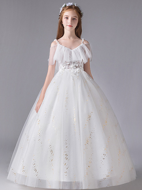 In Stock:Ship in 48 Hours  White Tulle Straps Appliques Flower Girl Dress