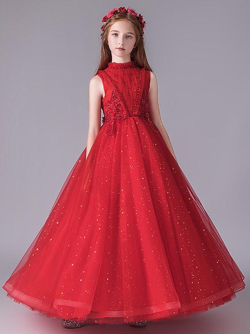In Stock:Ship in 48 Hours Red Tulle Beading Flower Girl Dress