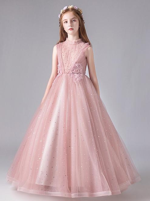 In Stock:Ship in 48 Hours Pink Tulle Beading Long Flower Girl Dress