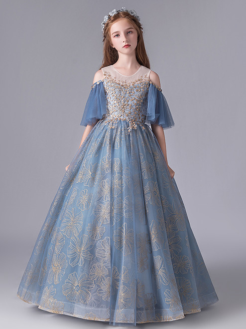 In Stock:Ship in 48 Hours Fashion Blue Tulle Sequins Flower Girl Dress