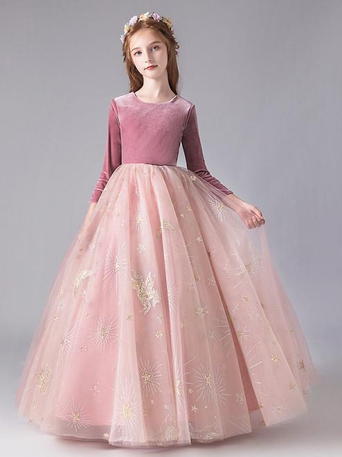 In Stock:Ship in 48 Hours Pink Tulle Velvet Long Sleeve Flower Girl Dress