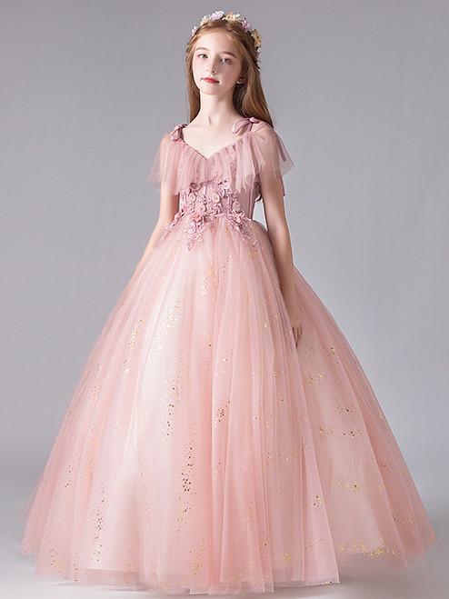 In Stock:Ship in 48 Hours Pink V-neck Applique Flower Girl Dress